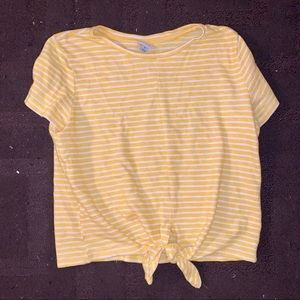 Yellow and White Striped Tie Top